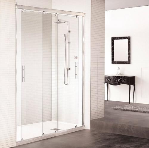 Mamparas de ducha corredera cristal athenea aluminios for Mamparas de ducha segunda mano madrid