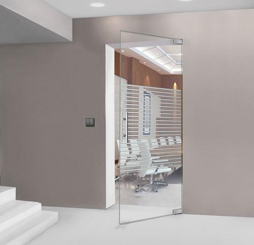 Puertas de paso de cristal abatibles bisagra hidraulica aluminios moncloa fabrica montadores - Puertas abatibles cristal ...